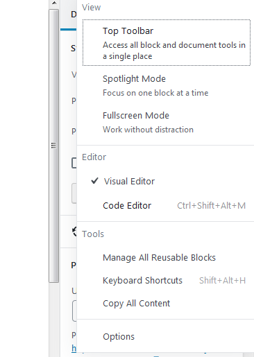 Screenshot of options showing how to change from visual editor to code editor